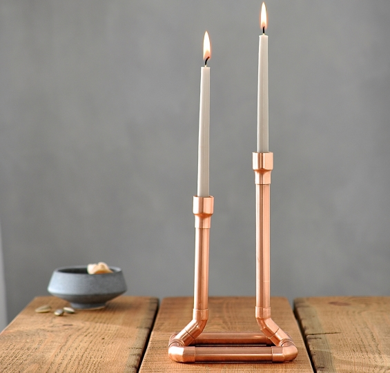 Industrial Copper Candle Holder