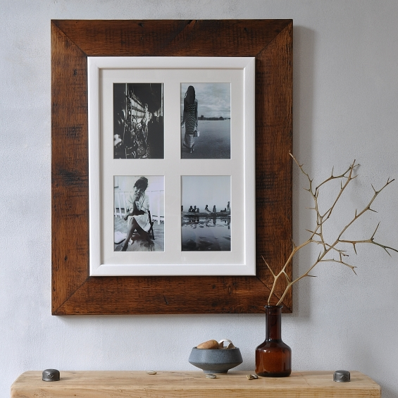 Reclaimed Wooden Four Aperture Photo Frame