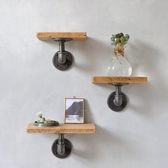 Set Of Three Reclaimed Wood Pipe Shelves