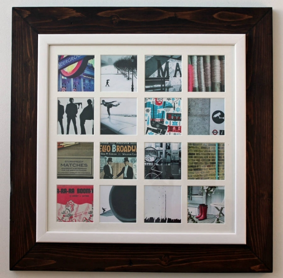 Reclaimed Wooden Multi Aperture 16 Photo Frame