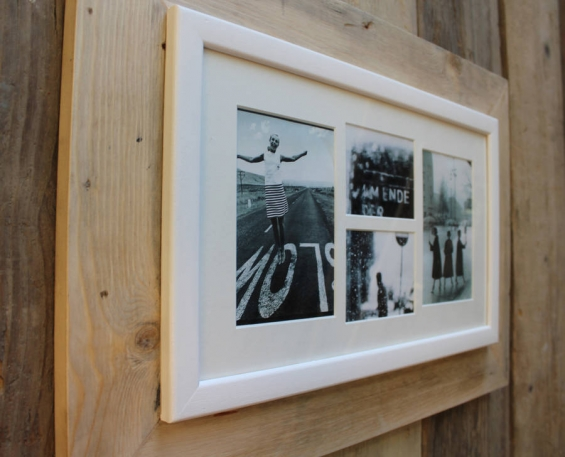 Reclaimed Wooden Multi Aperture Four Photo Frame