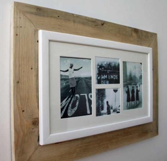 Reclaimed Wooden Multi Aperture Four Photo Frame 3