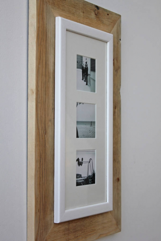 Reclaimed Wooden Multi Three Aperture Photo Frame