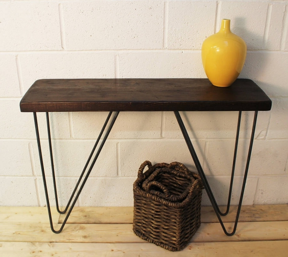 Industrial Wood And Steel Console Table