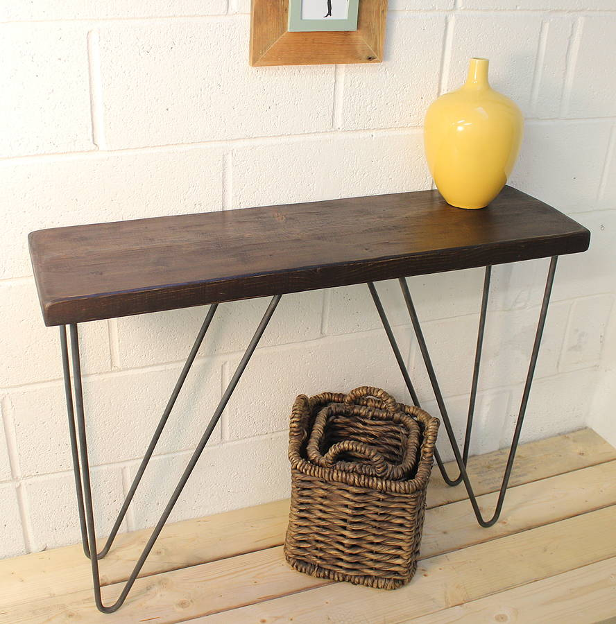 Industrial wood and steel console table ma design geotapseo Image collections