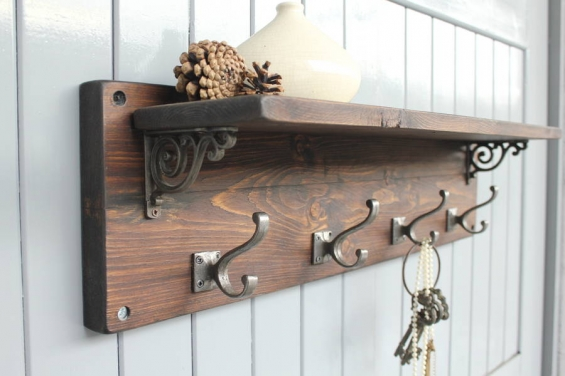 Reclaimed Wood Victorian Coat Hook Shelf