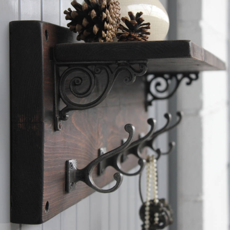 ... Industrial Wooden Coat Hooks Reclaimed Wood Victorian Coat Hook Shelf