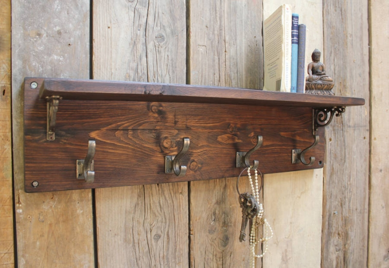 Reclaimed wood victorian coat hook shelf möa design