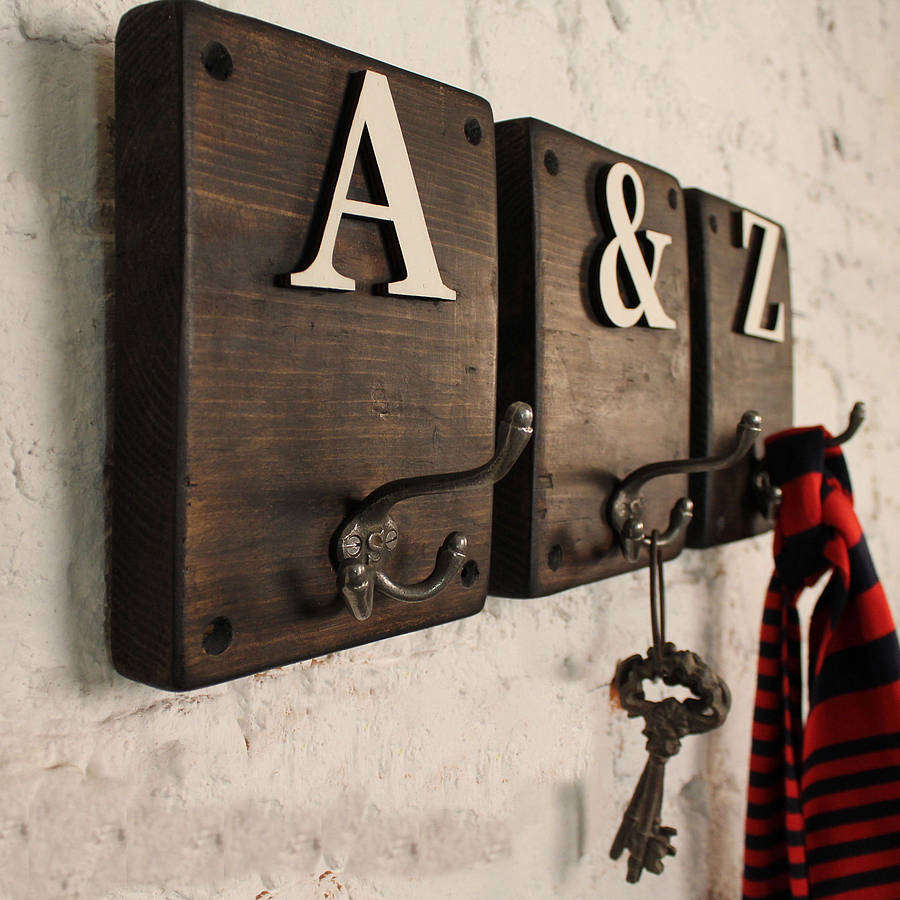 Rustic Wooden Letter Hook M 246 A Design